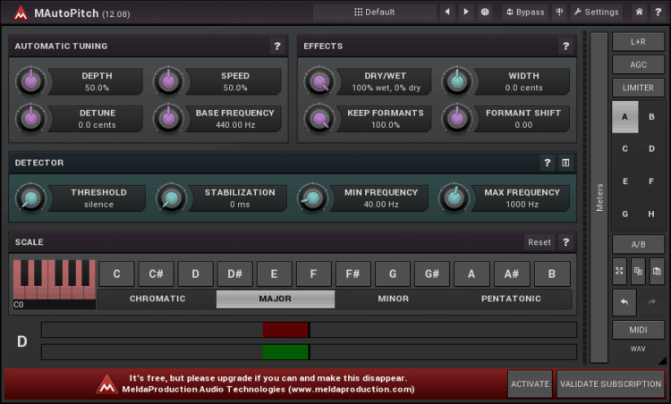 MeldaProduction MAutoPitch - Auto Tune Plugins kostenlos