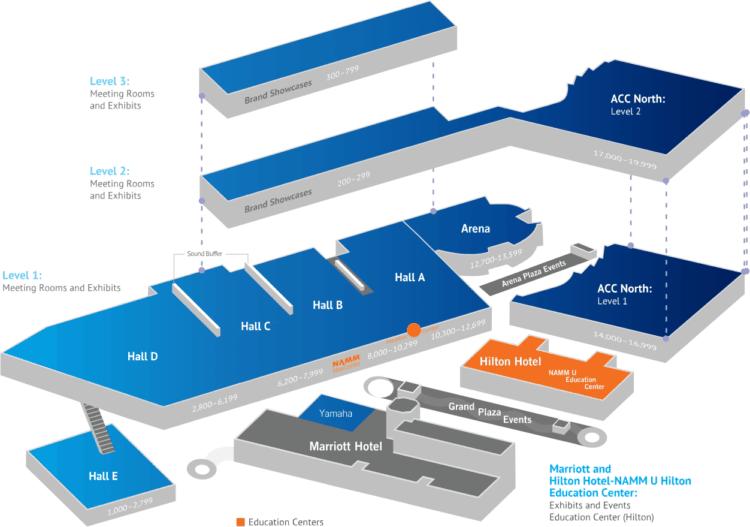 NAMM 2019 Map - Karte mit allen Bereichen