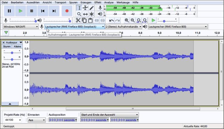 Audacity zur Audioaufnahme (»Was geräde läuft«) unter Windows