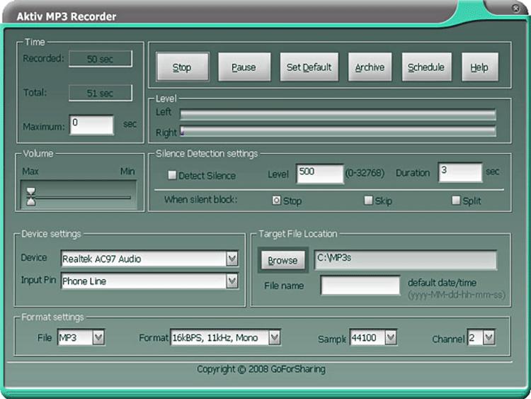 Musik mitschneiden mit Aktiv MP3 Recorder