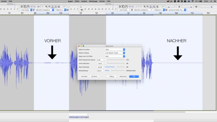 Atmer und Störgeräusche entfenren mit einem Noise Gate in Audacity