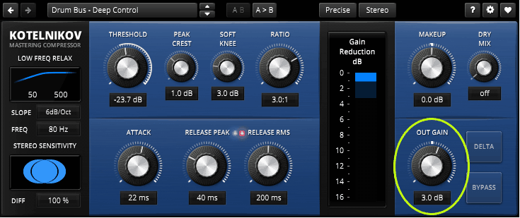 Audio Kompressor gain