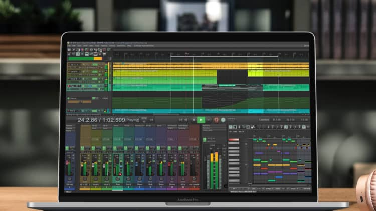 Musikproduktion am Laptop