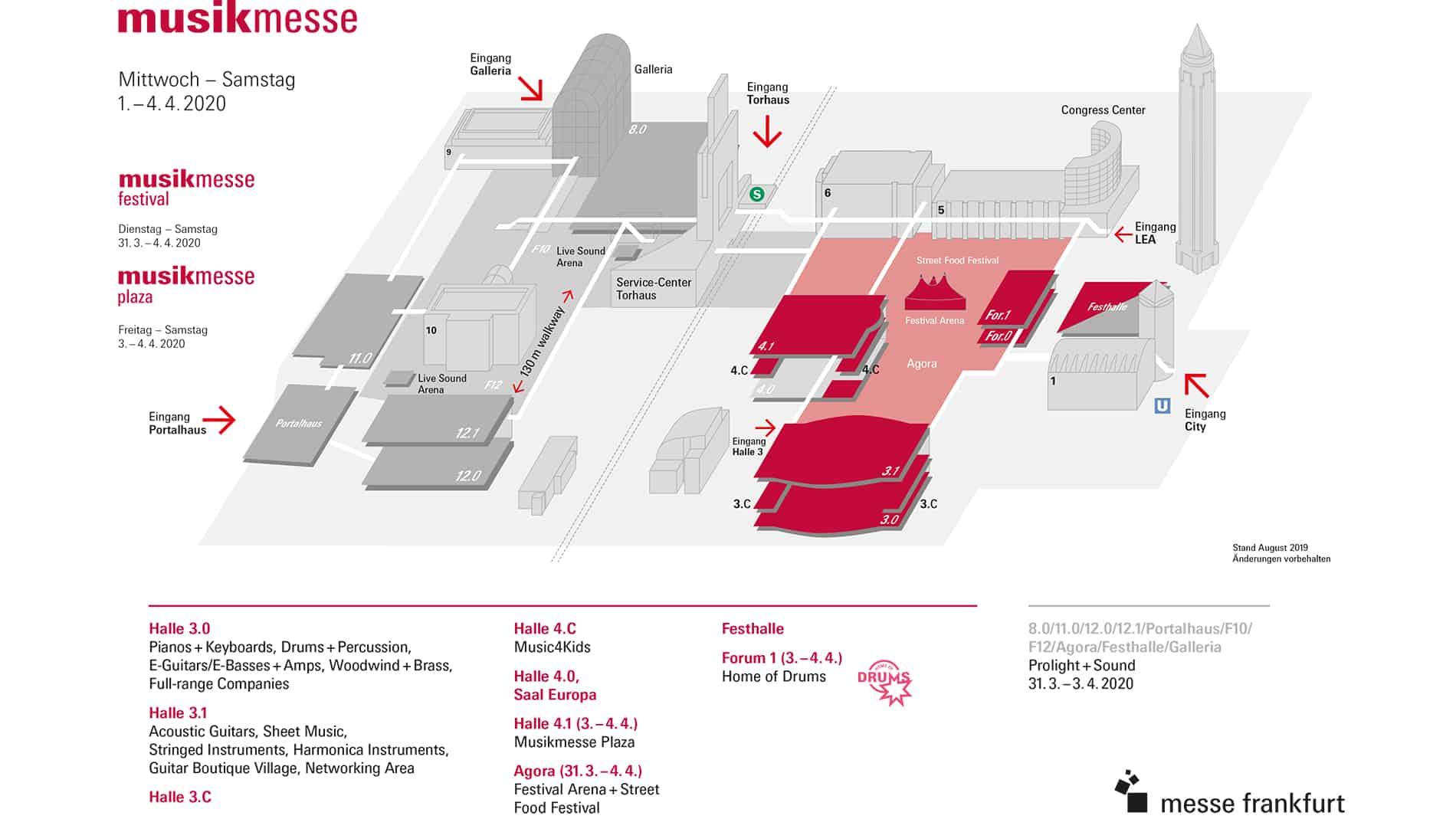 Geländeplan & Hallenbelegung - Musikmesse 2020