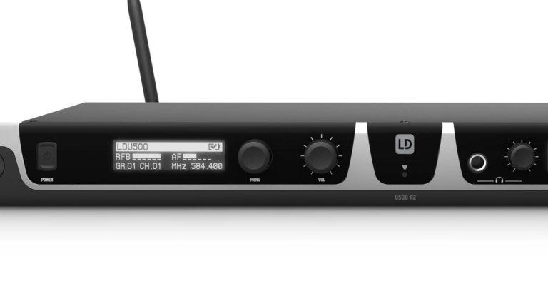 Display und Bedienelemente des LD Systems U508-R2-Doppelempfängers