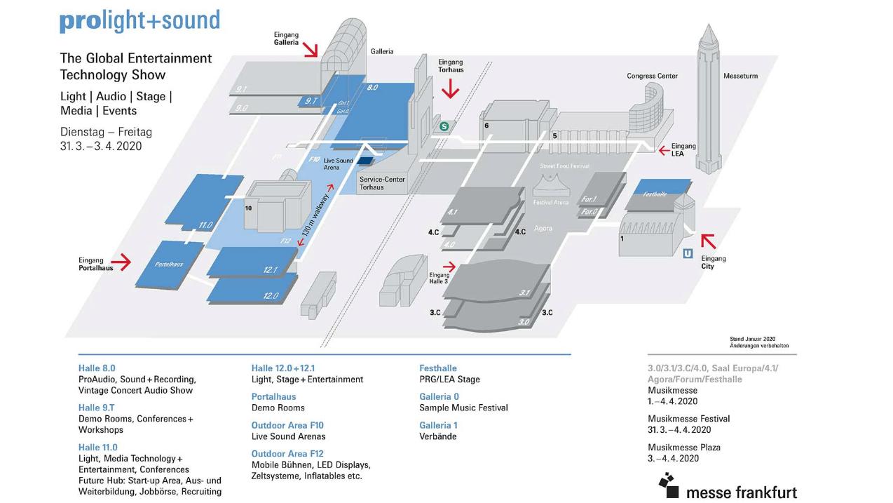 Geländeplan & Hallenbelegung - Musikmesse 2019