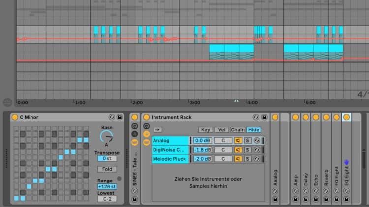 Geschichtete Instrumente in den SINEE Ableton Live Templates