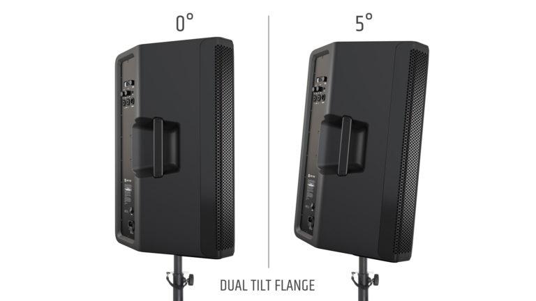 Der Dual Tilt Flansch von LD Systems ermöglicht eine gerade und eine leicht nach unten geneigteAusrichtung