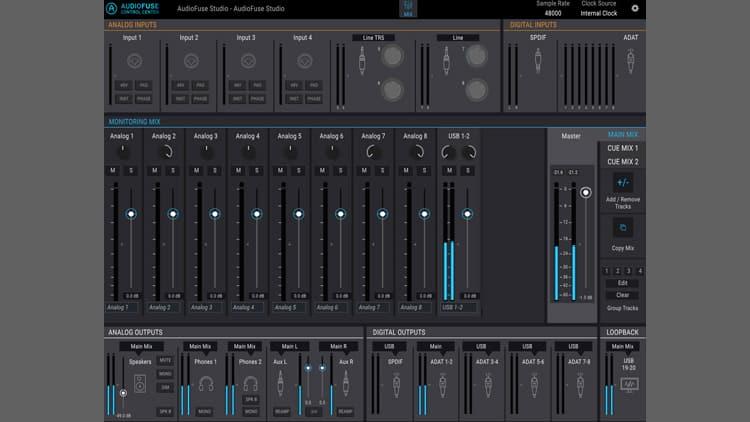 arturia audiofuse studio control center